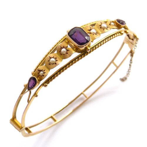 1910 - Bangle Set with Amethyst and Seed Pearls in 9ct. Yellow Gold
