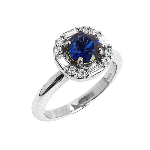 18ct. White Gold, Sapphire and Diamond Set Cluster Ring.
