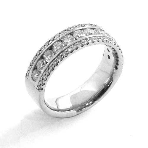 Half Eternity Ring, Three Rows of Diamonds Set in Palladium