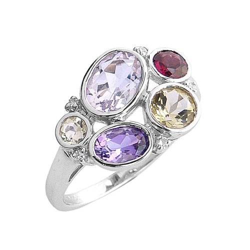 9ct. White Gold, Mixed Gemstone Cluster