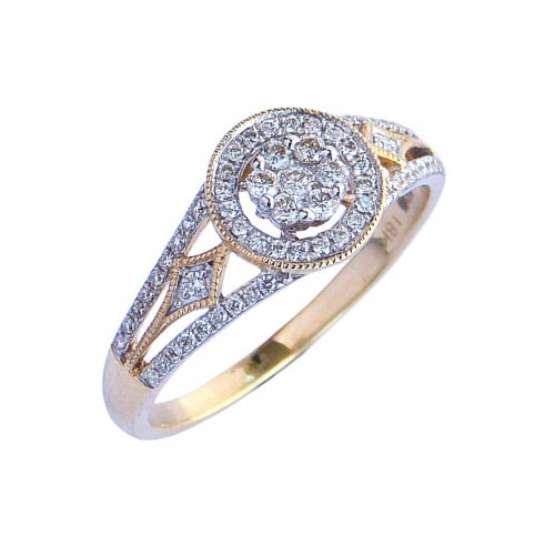 18ct. Yellow Gold and Diamond, Cluster Ring.