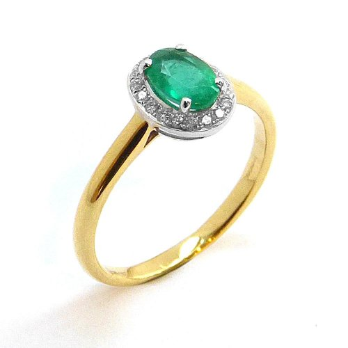 Cluster Ring, Emerald and Diamond Set in 18ct. Yellow and White Gold