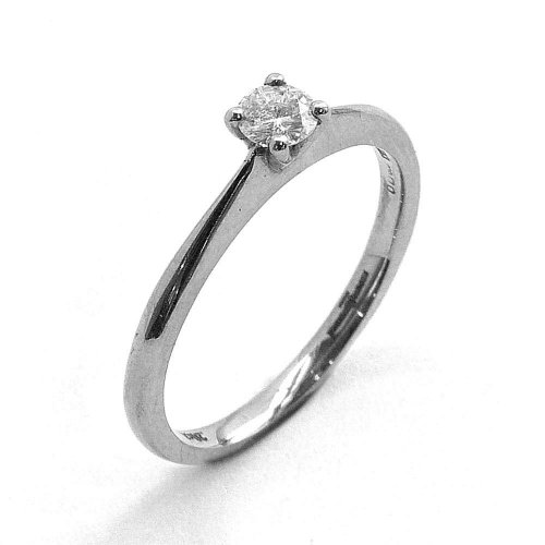 Guest and Philips - 0.20ct Diamond Set, Palladium Solitare Ring, Size N.5