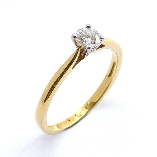 Solitaire Diamond Ring in 18ct. Yellow and White Gold