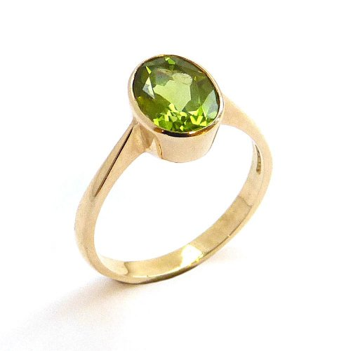 Solitaire Ring Set with Peridot in 9ct. Yellow Gold