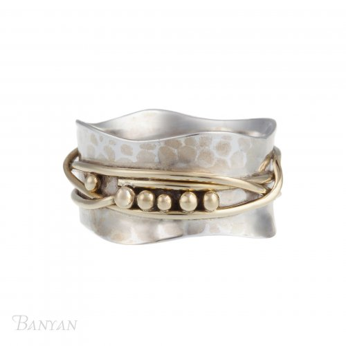 Banyan - Sterling Silver with Yellow Gold Plate and Brass Hammered with Wire Detail Ring, Size P