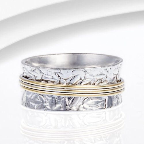 Banyan - Sterling Silver With Brass Spinning Ring, Size N