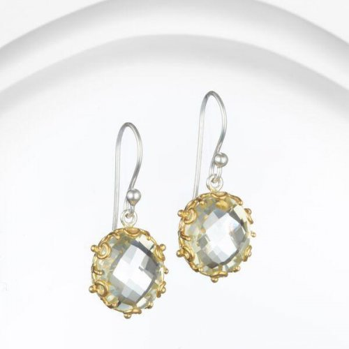 Banyan - Green Amethyst Set, Sterling Silver With Gold Plate Drop Earrings