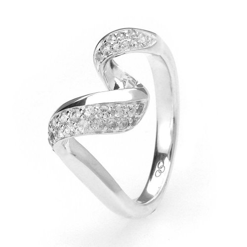 Links of London - Entwine, White Sapphire Set, Sterling Silver Ring, Size K