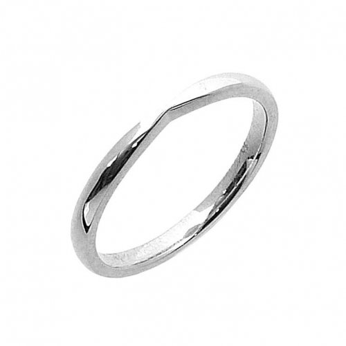 Shaped Wedding Band in 18ct. White Gold