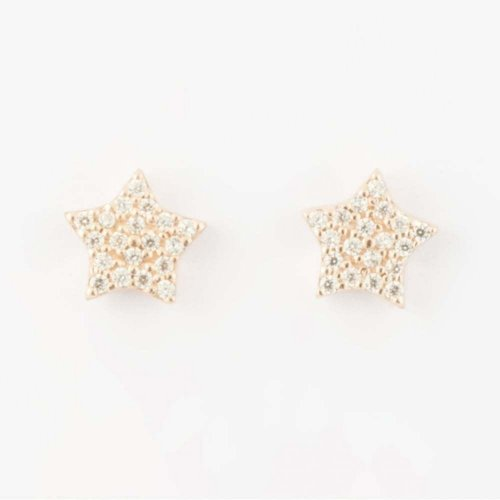 Virtue - Cubic Zirconias Set, Rose Gold Star, Stud Earrings