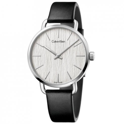 Calvin Klein - Stainless Steel on a Black Leather Strap Watch