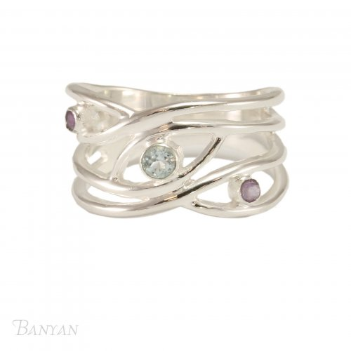 Banyan - Blue Topaz and Amethyst Set, Silver Ring, Size P