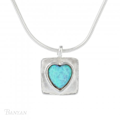 Banyan - Opalite Set, Sterling Silver Heart Pendant Necklace