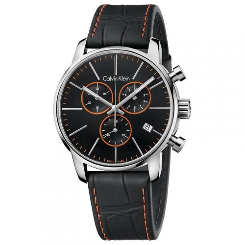 Calvin Klein - Men's City, Leather Strap Black Chronograph Dial with Orange Detail Watch