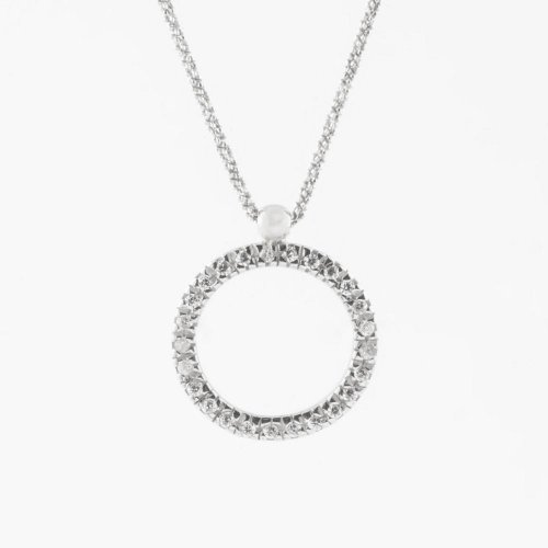 Virtue - Cubic Zirconia Set, Sterling Silver Circle Necklace, Size 45/50cm