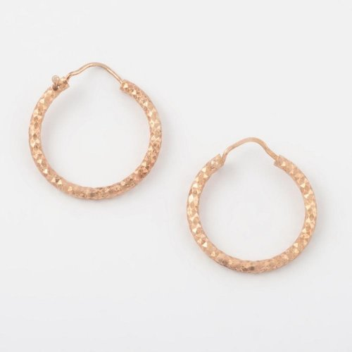 Virtue - Sterling Silver with Rose Gold Plating Hoop Earrings, Size 16mm