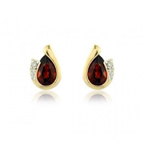 Mark Milton - Garnet With Diamonds Set, 9ct Yellow Gold Pear Earrings
