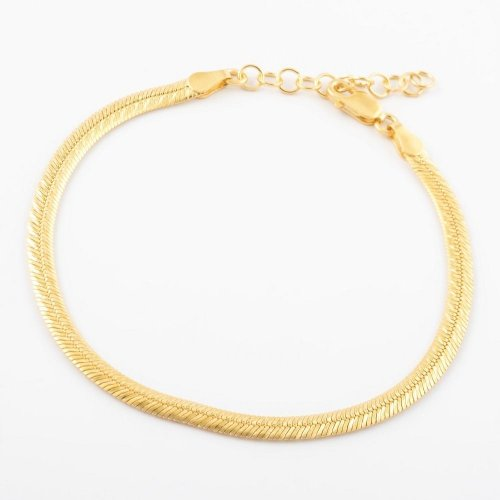 Virtue - Sterling Silver and Yellow Gold Plate Herringbone Bracelet