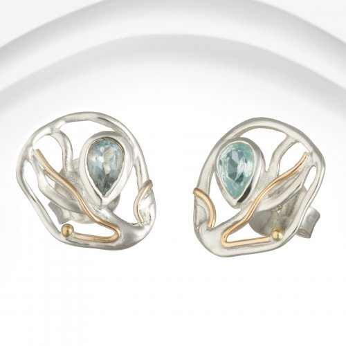 Banyan - Blue Topaz Set, Sterling Silver Stud Earrings