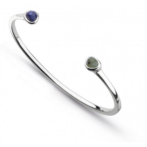 Kit Heath - Lapis lazuli and Labradorite Set, Silver Bangle