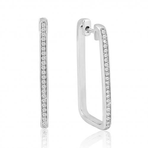Waterford - C/Z Set, Silver Large Rectangular Earrings