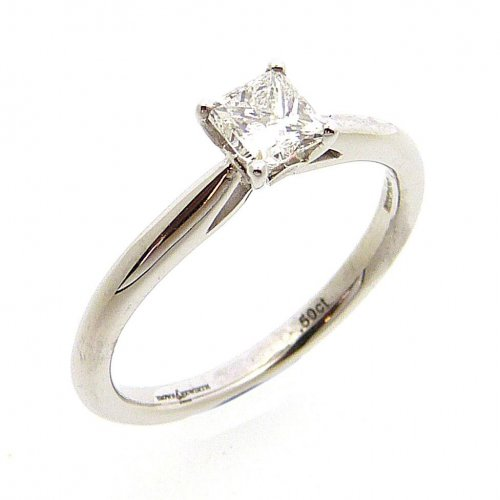 Solitaire, Princess Cut Diamond Engagement Ring in 18ct. White Gold