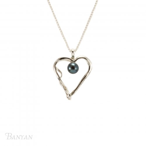 Banyan - Black Pearl Set, Sterling Silver Heart Pendant Necklace