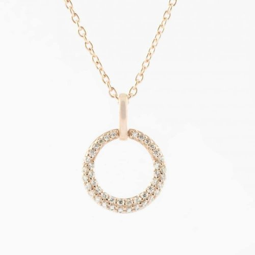 Virtue - Cubic Zirconias Set, Rose Gold Plated Necklace