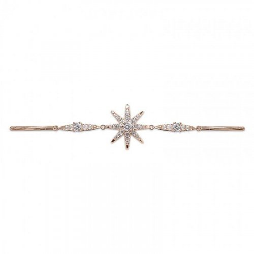 Carat London - Celeslia, Cubic Zirconia Set, Silver Rose Gold Finish Bracelet