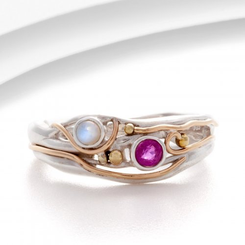 Banyan - Ruby and Pearl Set, Silver and Yellow Gold Plate Ring, Size N