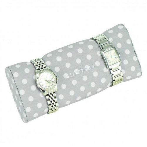 Stackers - Duck Egg Blue / Grey Polka Dot, Bracelet / Watch Pad Jewellery Box Accessory