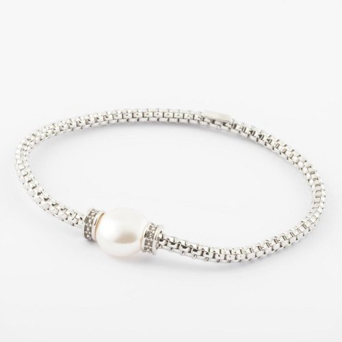 Virtue - Sterling Silver and Rhodium Plate Bead Detail Bracelet