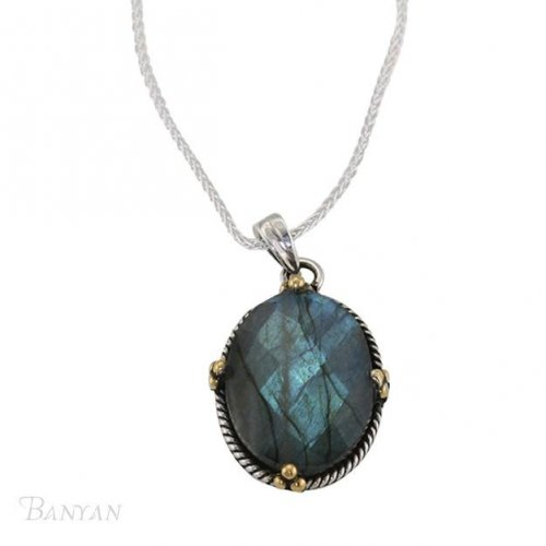 Banyan - Faceted Labradorite Set, Sterling Silver Pendant and Chain, Size 18