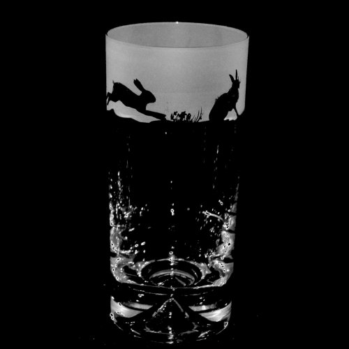 Animo Glass - Hare Pattern, Etched Frosted Glass Highball Frosted Glass