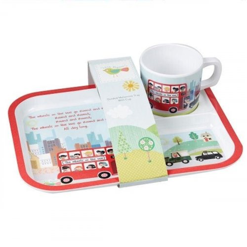 Churchill - Melamine Wheels on the Bus Tray and Cup Set