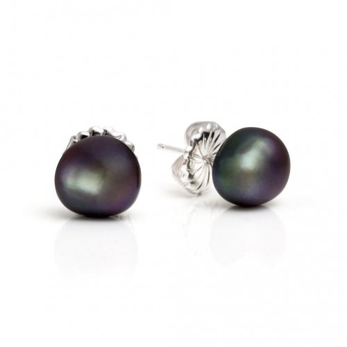 Claudia Bradby - Audrey, Peacock Pearl Set, Sterling Silver Stud Earrings