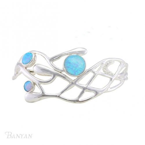 Banyan - Silver Gallery Bangle with Blue Opalite