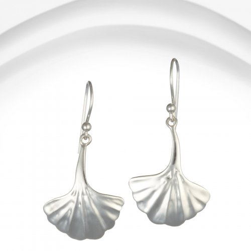 Banyan - Silver Fanned Leaf Earrings