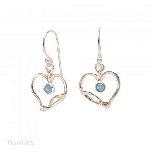 Banyan - Opalite Set, Silver Hearts Earrings