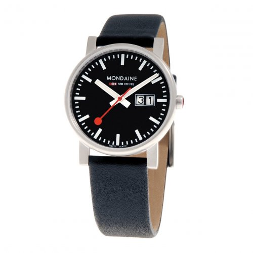 Mondaine - Stainless Steel and Black Leather Big Date Watch