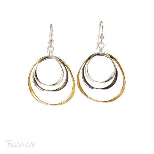 Banyan - Sterling Silver Three Tone Irregular Circles Earrings