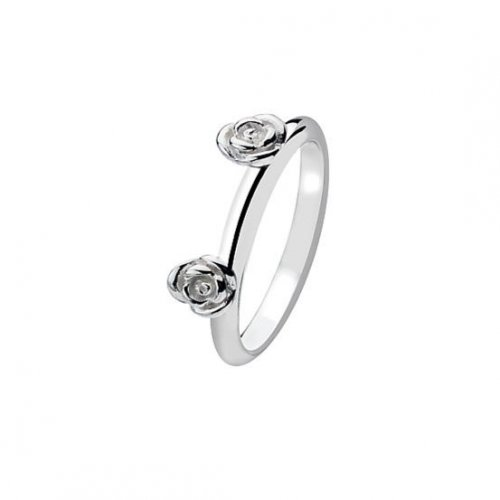Virtue - Sterling Silver Two Flower Plain Band Ring
