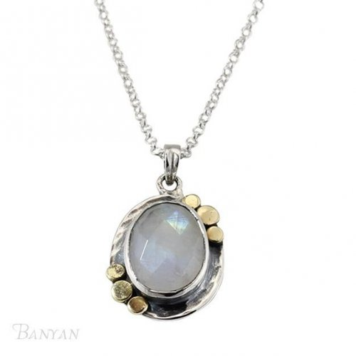 Banyan - Moonstone Set, Sterling Silver Pendant and Chain, Size 18