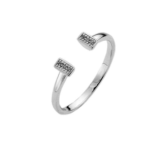 Virtue - Cuff, Cubic Zirconia Set, Sterling Silver Ring, Size P