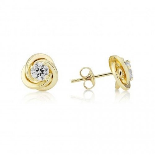 Mark Milton - Cubic Zirconia Set, 9ct Yellow Gold Knot Earrings