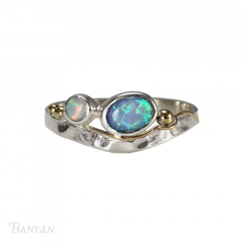 Banyan - Opalite Set, Sterling Silver and Yellow Gold Plate Ring, Size T