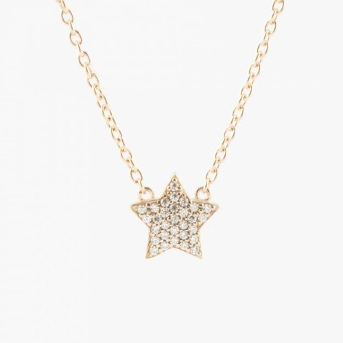 Virtue - Cubic Zirconias Set, Rose Gold Star Necklace