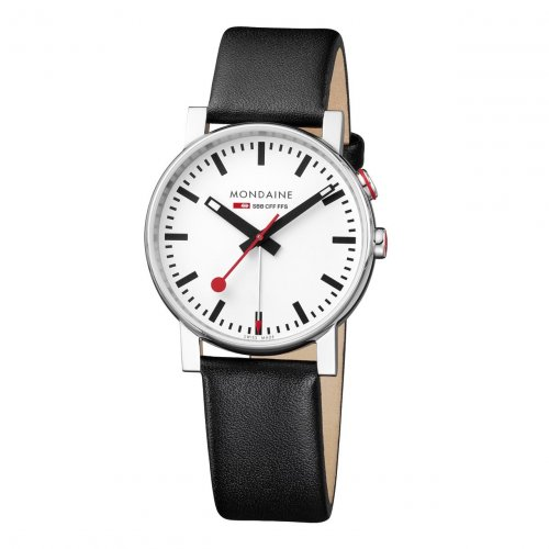 Mondaine - Gents, Stainless Steel and Black Leather Watch