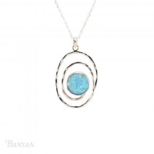 Banyan - Opalite Set, Sterling Silver Spiral Pendant Necklace